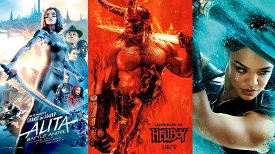 Image: Alita, Hellboy, Thor Ragnarok posters