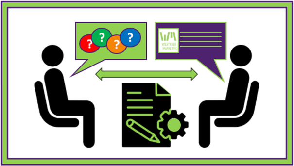 Image for Freelance Copywriter FAQ - Client with questions talking to Westebbe Marketing