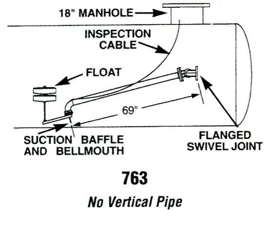 69 in. Long Floating Suction Assembly for Tanks Under 8 ft