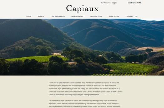 Capiaux Cellars website