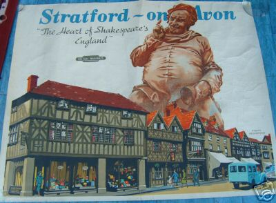 AN ORIGINAL BRITISH RAILWAYS POSTER, STRATFORD ON AVON, THE HEART OF SHAKESPEARE'S ENGLAND.