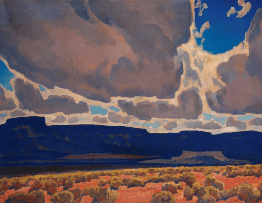 Maynard Dixon (American, 1875–1946) Mesas in Shadow, 1926 Oil on canvas, 30¼ × 40 in., Brigham Young University Museum of Art, Provo, Utah, gift of Herald R. Clark