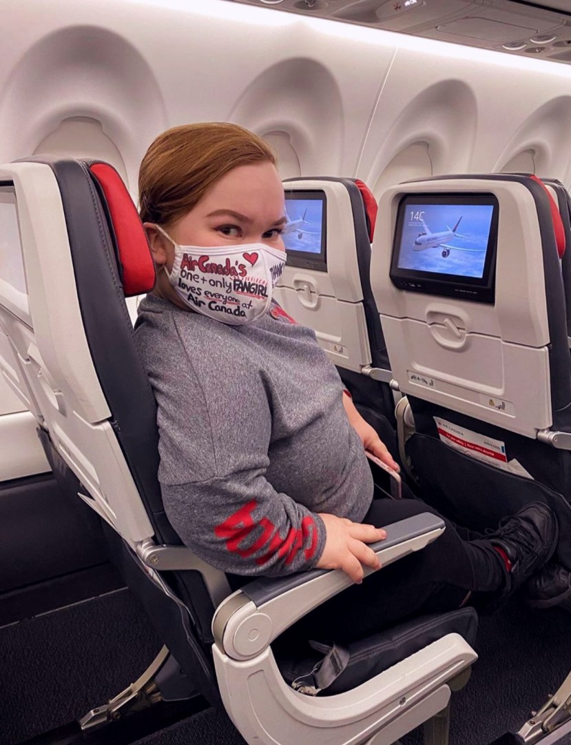 Zoe Elverum in an Air Canada A220 seat.