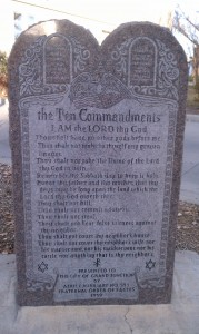 "Grand Junction's ""Ten Commandments"" tablet was donated to the City in 1959 by the Fraternal Order of Eagles, a fraternal group that only admits people who believe in God."