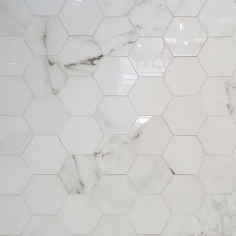 Absolute Carrara Hexagonal Porcelain Tile Western