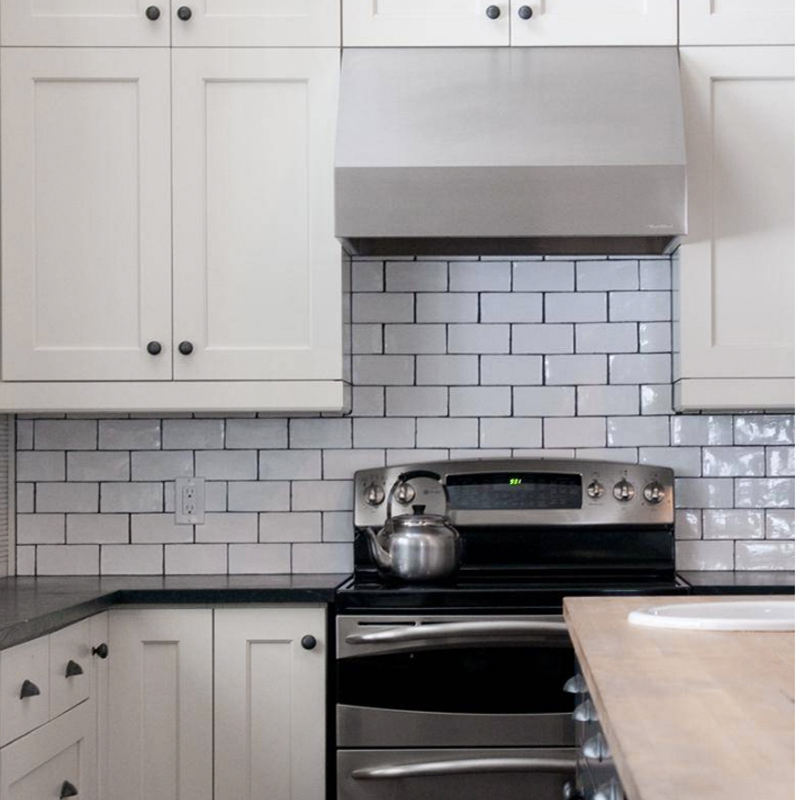 hand made look white gloss subway tile