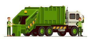 Waste management dumpster truck illustration