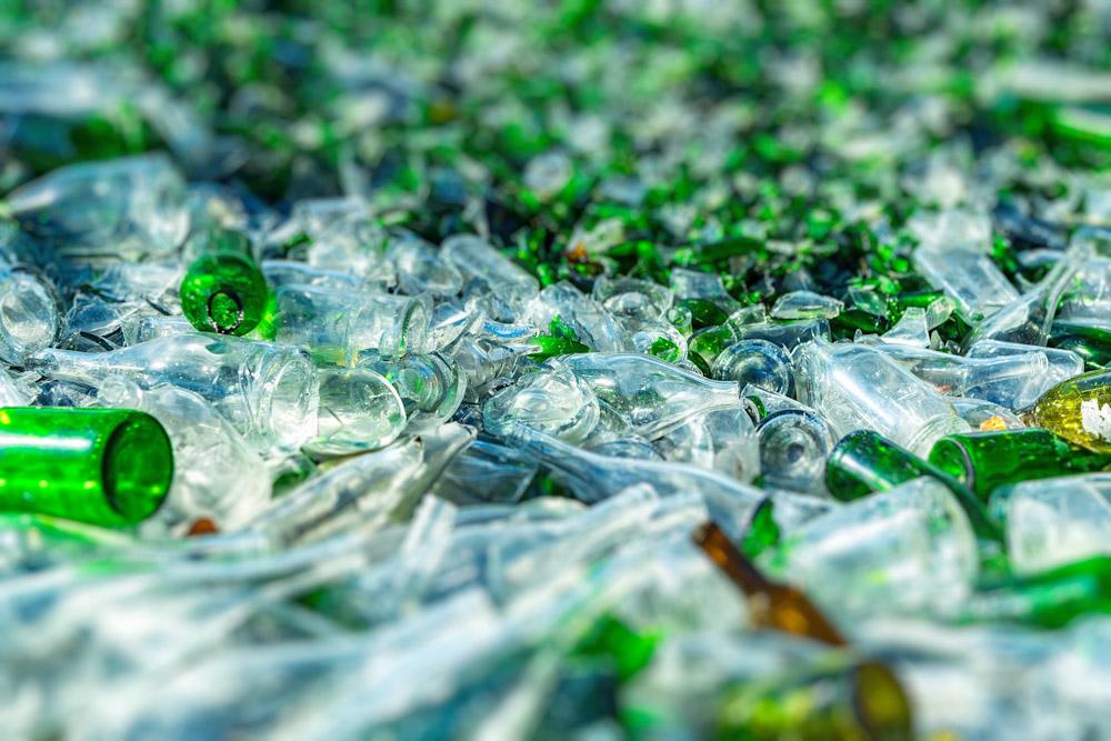 glass bottles in rental dumpster