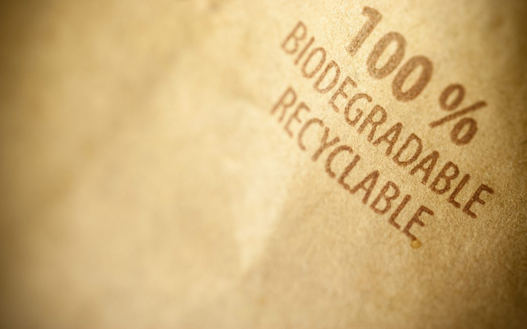Bag that says 100 percent biodegradable/recyclable