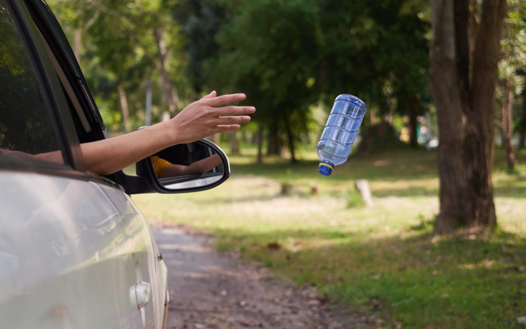 person littering; throwing plastic bottle out of their car window
