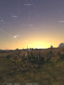 Sighthill solstice sunset in Stellarium