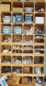 One of many shelves stocked with window parts...