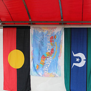 The Aboriginal Flag side by side with the NAIDOC flag