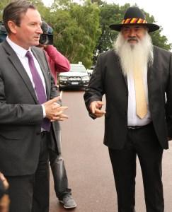 WA Opposition leader Mark McGowan greets Patrick Dodson. PHOTO: Laura Thomas