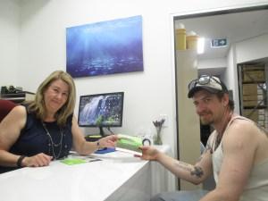 Simon McCormack visits WASUA's nurse Leanne Myers