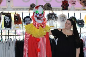 Tina Wild show casing one of the clown costumes available.