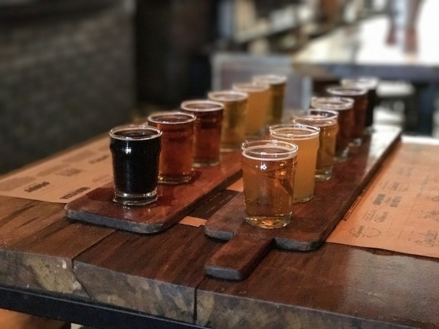 Beer paddle with an array of samples.