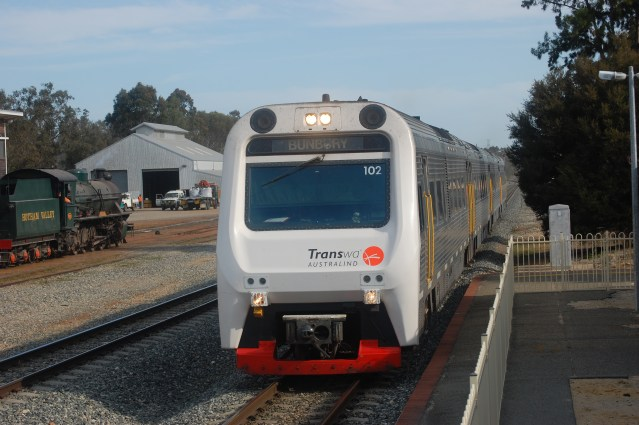 The Australind train arriving at Pinjarra train station in 2010.
