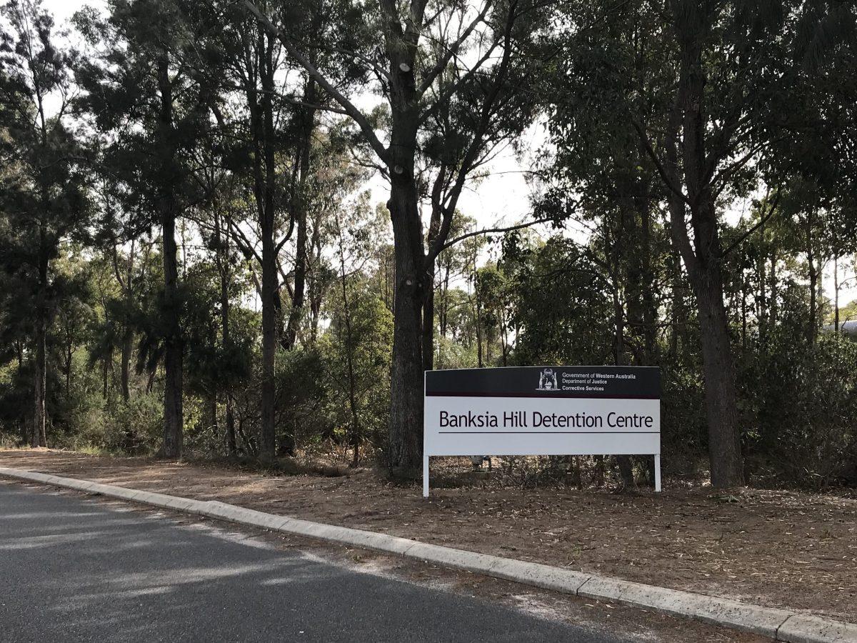 Sign outside Banksia Hill Juvenile Detention Centre