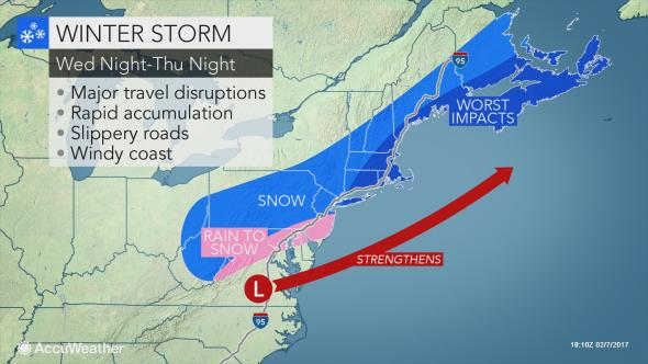 Winter Storm Watch in effect from late Wednesday into Thursday