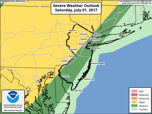 strong thunderstorms are possible this afternoon in western New Jersey