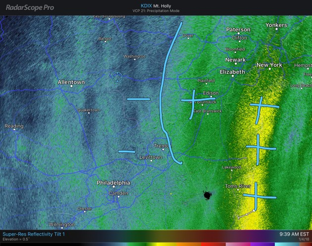 Radar shows lighter snow bands in western sections of western New Jersey