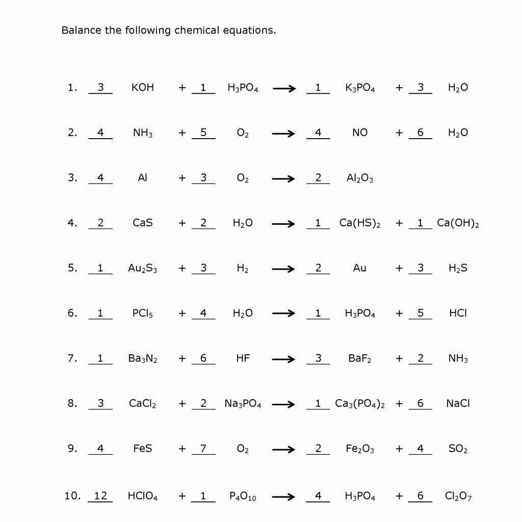 Balancing Chemical Equations Practice Worksheet With