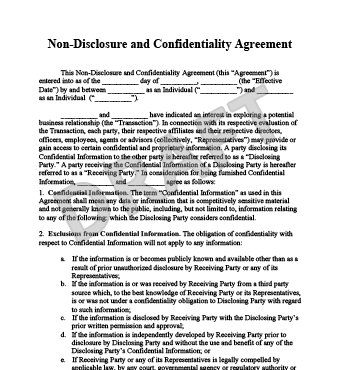 Confidentiality Agreement Form | Business Mentor