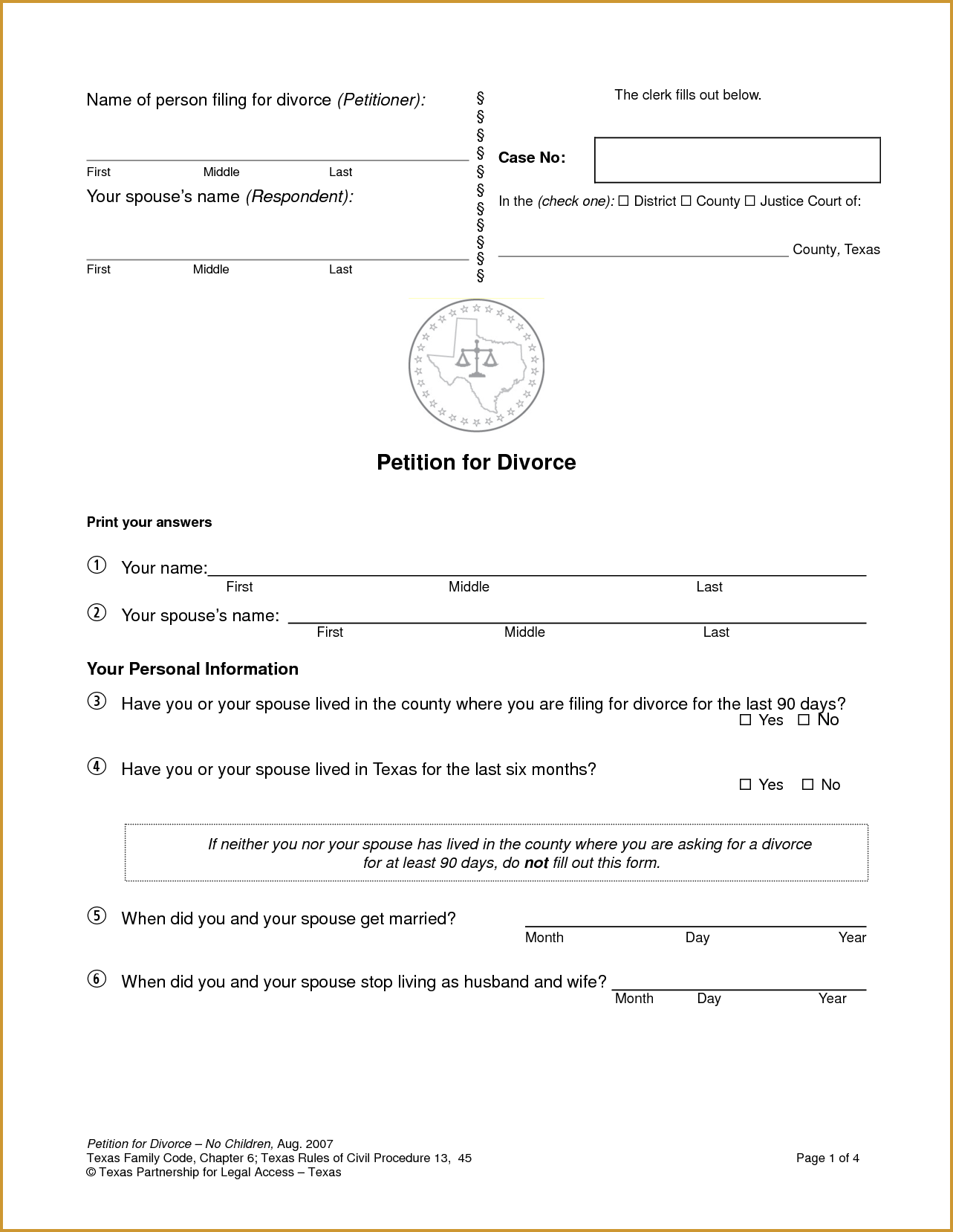 Fake Divorce Papers