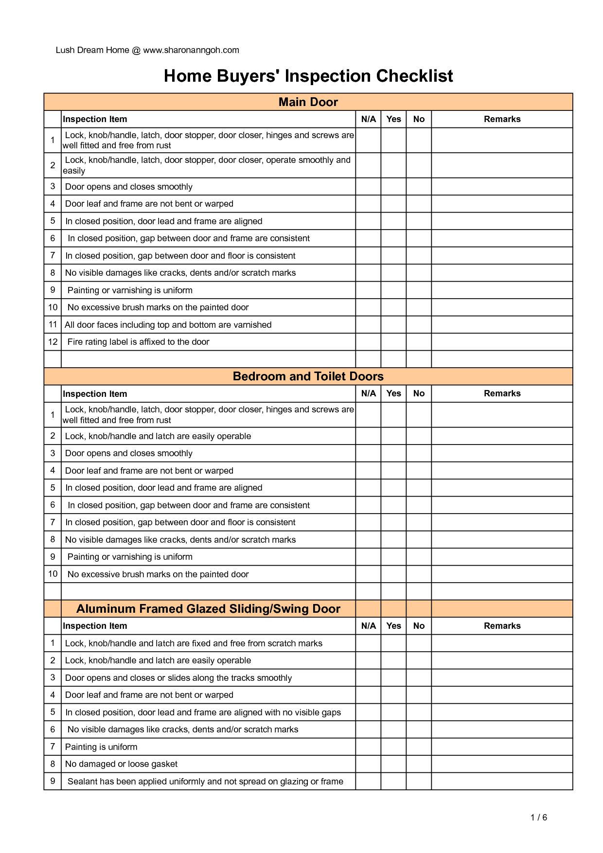 Buyer Home Inspection Checklist