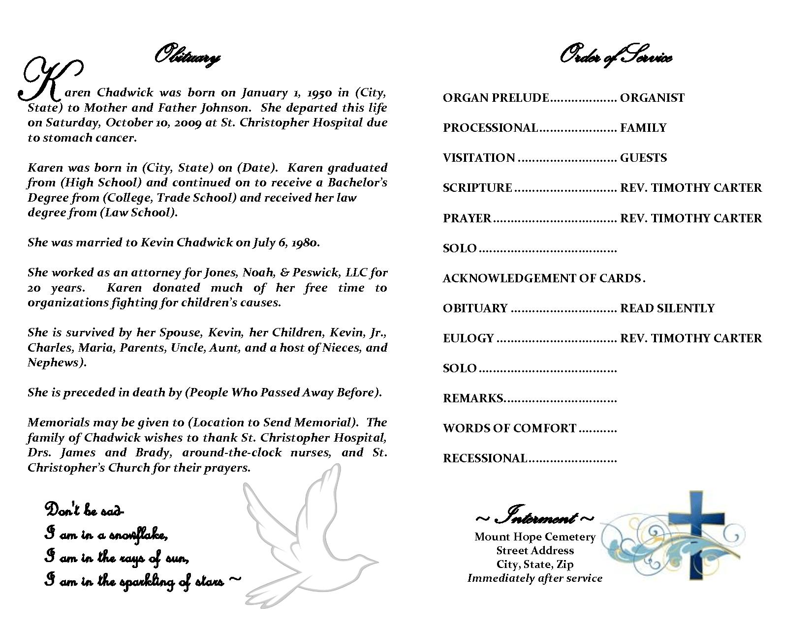 Obituary Sample Template