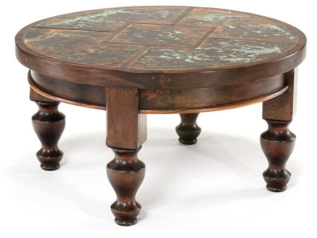 Copper Verdigris Round Cocktail Table Western Cocktail And