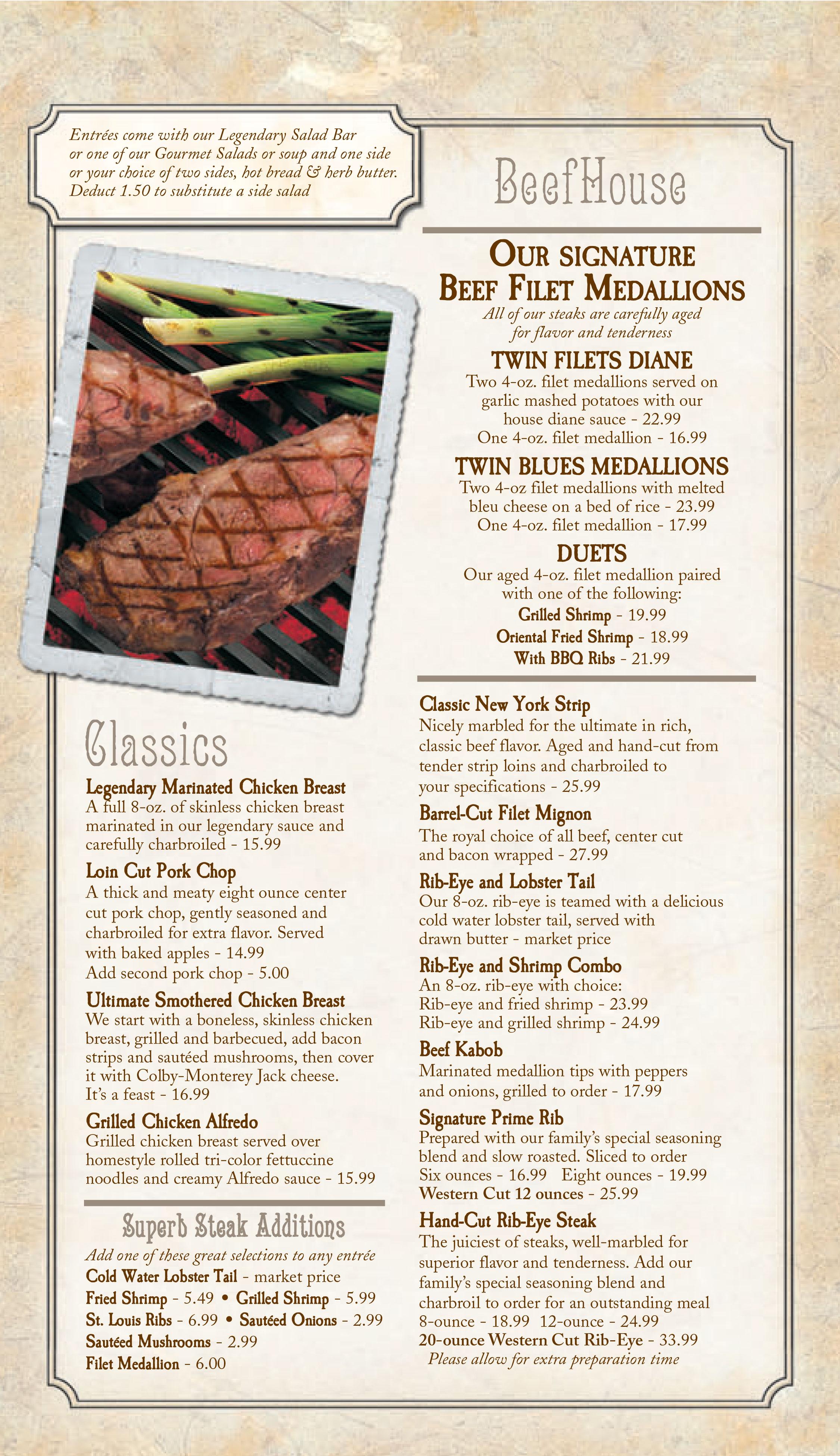 Dinner Menu  Evansville IN Western Ribeye  Ribs