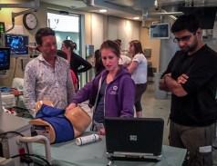 Roy Roebotham supervising an endocavitary simulation