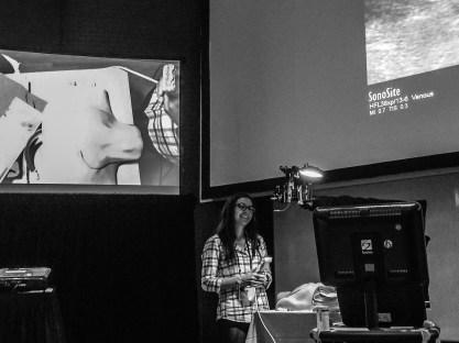 Tania Ligori demonstrates the creep method of vascular access for the participants