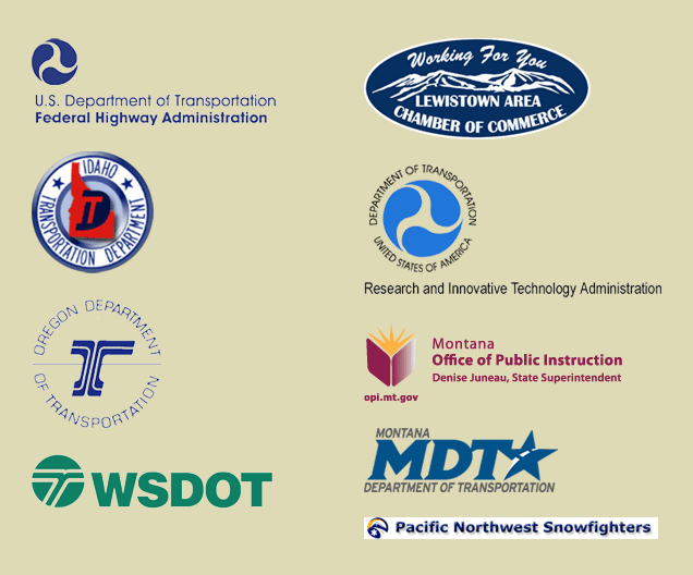 Collection of Transcend Partner Logos. USDOT FHWA, Idaho Transportation Department, Oregon Department of Transportation, Washington State DOT, Lewistown Chamber of Commerts, Montana Office of Public Instruction, Montana Department of Transportation, Pacific Northwest Snowfighters