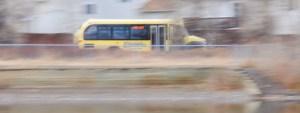 Streamline bus in Bozeman, MT. Motion blur image by Bozeman ponds