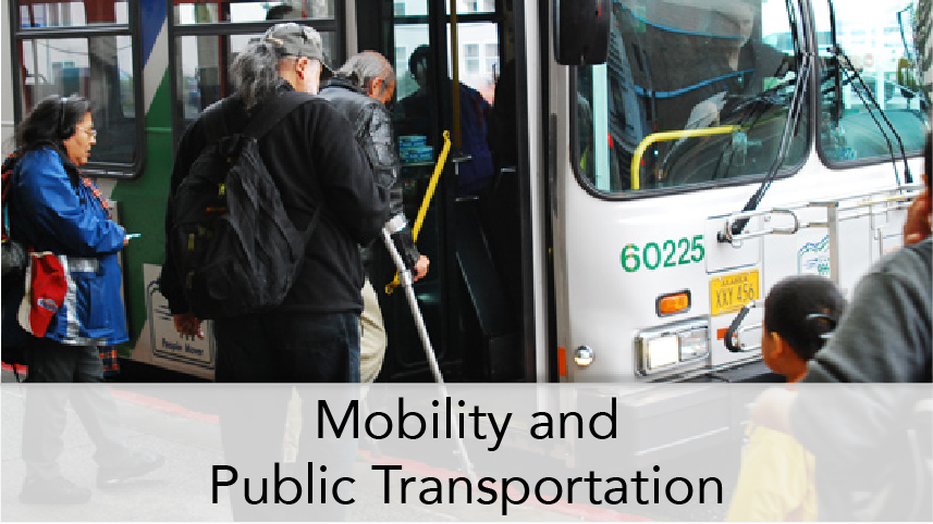 WTI-ProgramThumbTitle-Mobility and Public Transportation. Image subject: Passengers board public transit bus. One passenger has disability and used crutches.