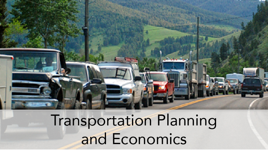 WTI-ProgramThumbTitle-Transportation Planning and Economics. Driver view on rural highway with backed up traffic in oncoming lane.