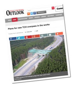 Screen capture of Rocky Mountain Outlook website showing landscaping of wildlife overpass