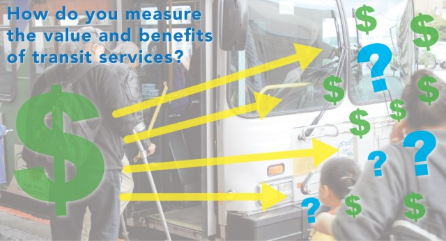 "Passengers boarding public bus. Overlaying text asking, ""How do you measure the value and benefits of transit services?"" with arrows pointing to $s and ?s"