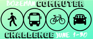 Graphic for Bozeman Commuter Challenge shows pedestrian, bus, bicycle, and carpool.