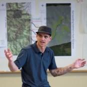 Matthew Bell presents at a wildlife crossings workshop