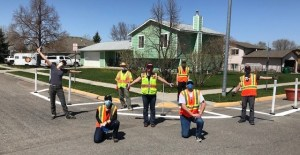 Seven staff members from WTI and City of Bozeman at traffic calming installation in Bozeman, Montana