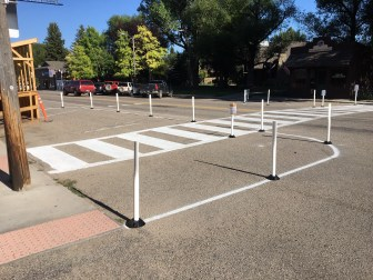 Traffic calming delineators installed along Main Street in Ennis, Montana