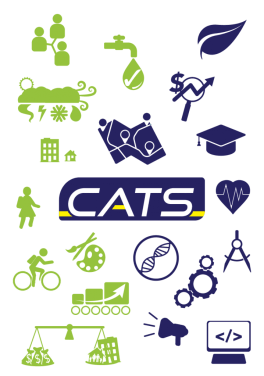 Logo for CATS student engagement program including icons of different project types