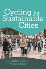 Book cover for Cycling for Sustainable Cities with photo of urban cyclists