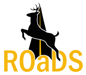 ROADS project logo 2021 with image of deer crossing roadway