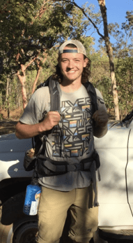Outdoor photo of Patrick McMahon with backpack 2021