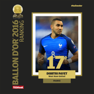 Dimitri Payet finishes 17th in Ballon D'Or Vote